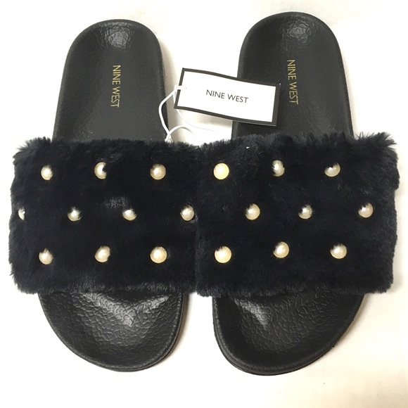 fcf3a07b049 NWT Nine West faux fur   pearl black slides L 9 10